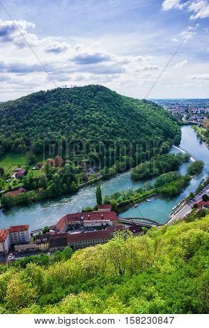 Aerial View On Besancon Bourgogne Franche Comte Region France