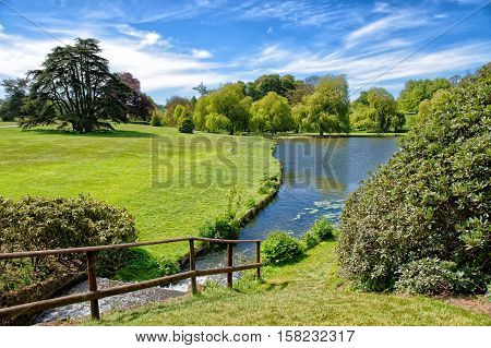 Beautiful Pond At Leeds Castle In Kent Uk
