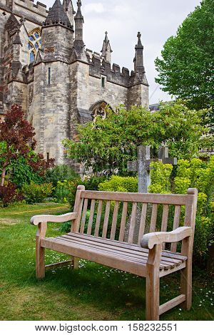 Bench At Bristol Cathedral In Bristol In South West Uk