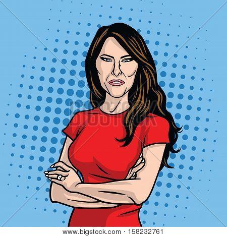 Melania Trump US First Lady Pop Art Vector Portrait