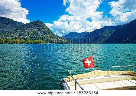 Boat With Flag At Promenade In Lugano Of Ticino Switzerland