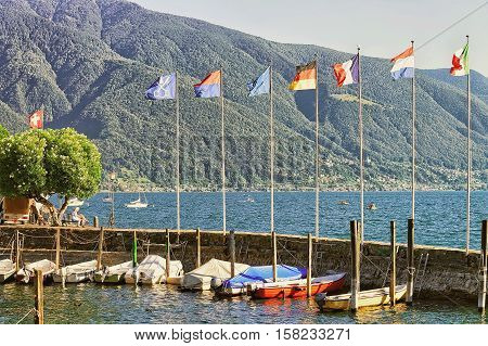 Boats At Embankment In Ascona In Ticino In Switzerland