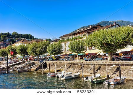 Boats At Embankment In Ascona Resort At Ticino Switzerland