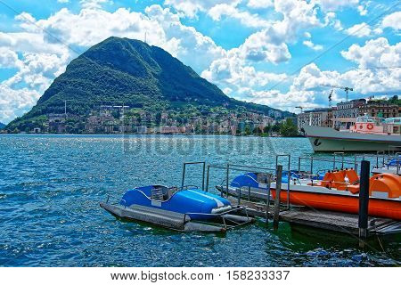 Boats At Landing Stage In Lugano In Ticino Switzerland