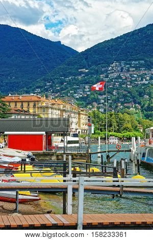 Boats At Landing Stage In Lugano In Ticino In Switzerland