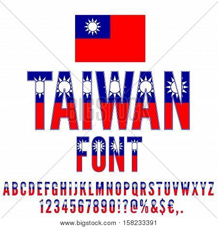 Taiwan National flag flat stylized Font. Alphabet and Numbers in Vector Set