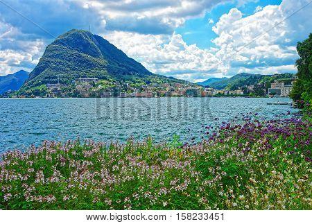 Botanical Garden At Promenade In Lugano Of Ticino Switzerland