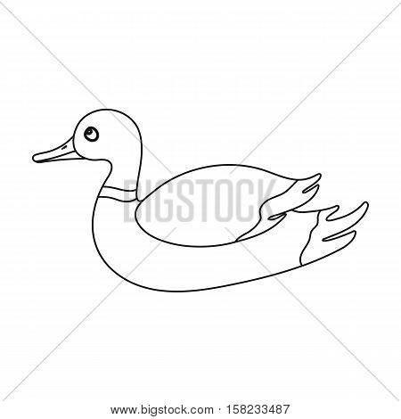 Duck icon in outline style isolated on white background. Hunting symbol vector illustration.