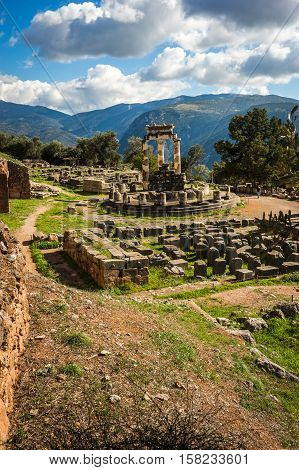 Image of Ruins of an ancient greek temple of Apollo at Delphi Greece