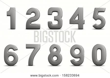 Numbers on white background. Isolated 3D image