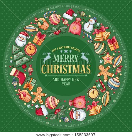 Festive Christmas and New Year Rounded Design with Different Christmas Objects on Green Background. Vector Illustration.