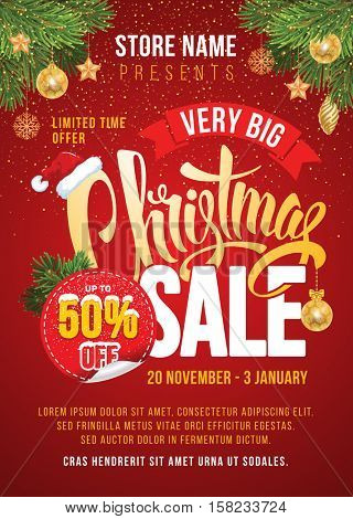 Christmas Sale Design Template. Calligraphy Inscription Christmas Sale. Easy to edit and Customize. Vector Illustration.