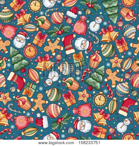 Festive Christmas and New Year Seamless Pattern with Different Christmas Objects in Cartoon Style on Blue Background. Vector Illustration.