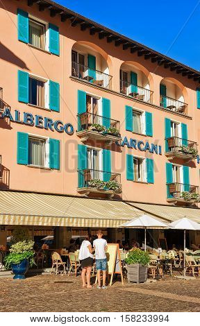 Cafes And Restaurants In Ascona In Ticino Of Switzerland