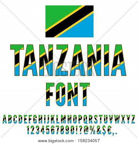 Tanzania National flag flat stylized Font. Alphabet and Numbers in Vector Set