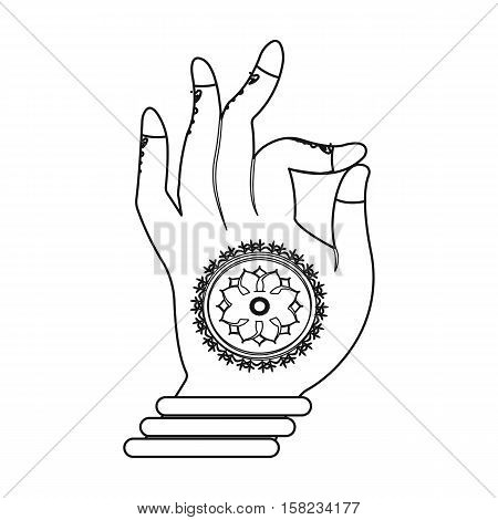 Mudra icon in outline style isolated on white background. India symbol vector illustration.