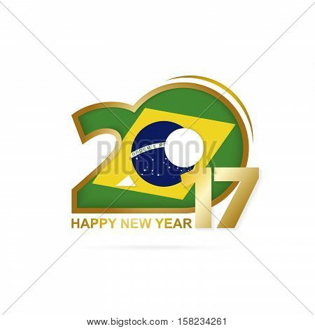 Year 2017 With Brazil Flag Pattern. Happy New Year Design On White Background.