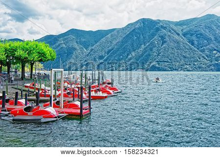Catamarans At Promenade In Lugano In Ticino In Switzerland