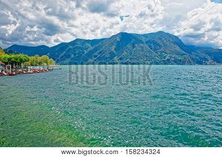 Catamarans At Promenade In Lugano In Ticino Switzerland
