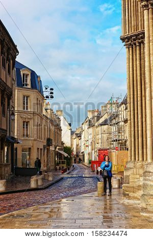 Street At Cathedral Of Our Lady Of Bayeux In Normandy
