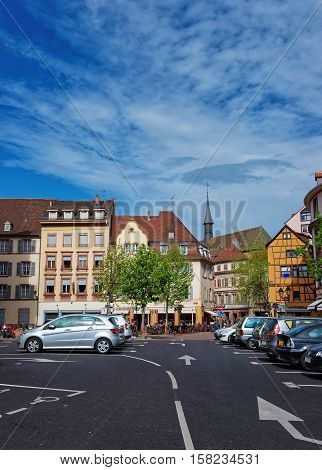 Cathedral Square In Colmar Of Alsace Of France