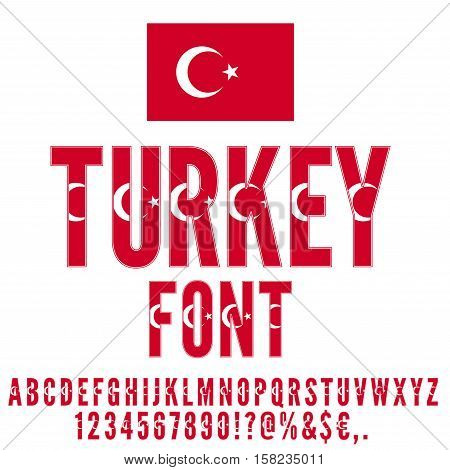 Turkey National flag flat stylized Font. Alphabet and Numbers in Vector Set