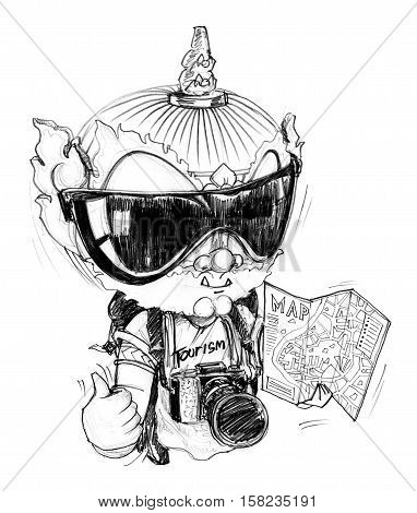 Thai Giant is photographer freelance he go to travel around the world he has a professional camera guide map sun glasses Character design pencil sketch on white background.