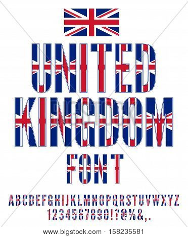 United Kingdom National Flag stylized Font. Alphabet and Numbers in Vector Set