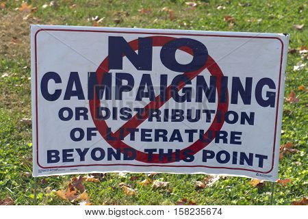 Close up of a sign saying