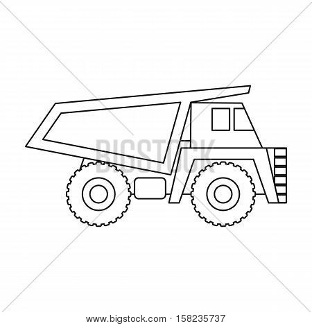 Haul truck icon in outline style isolated on white background. Mine symbol vector illustration.