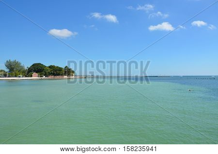 Key West Florida beach scene in the late summer.