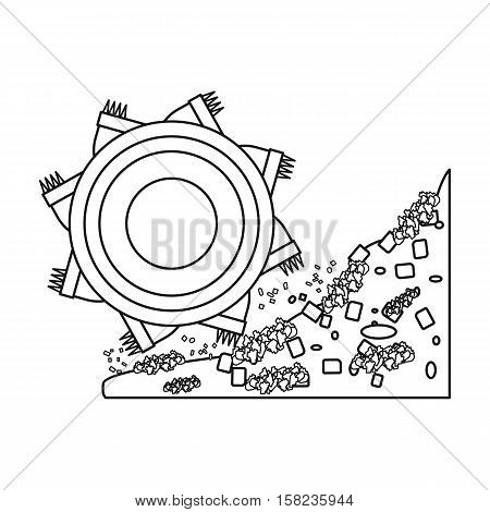 Bucket-wheel excavator icon in outline style isolated on white background. Mine symbol vector illustration.
