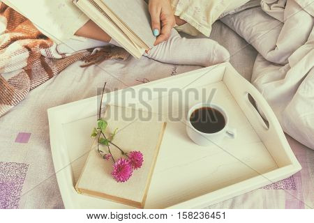 Breakfast In Bed, Cozy Home Concept