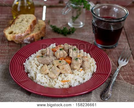 French traditional meal veal Blanquette with carrots ceps and onions