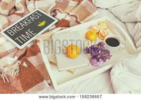 Breakfast In Bed, Cozy Home Concept