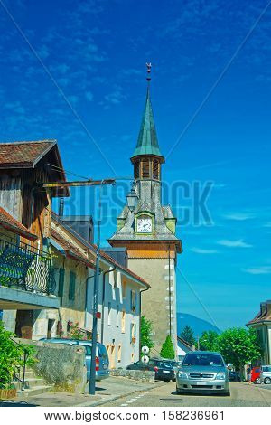 Clock Tower In Yverdon In Jura Nord Vaudois Vaud Switzerland