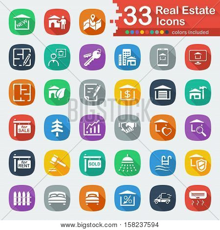 White flat real estate icons for web and mobile apps