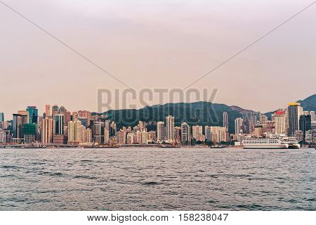 Cruise Ship And Victoria Harbor In Hong Kong