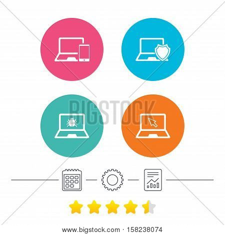 Notebook laptop pc icons. Virus or software bug signs. Shield protection symbol. Mouse cursor pointer. Calendar, cogwheel and report linear icons. Star vote ranking. Vector