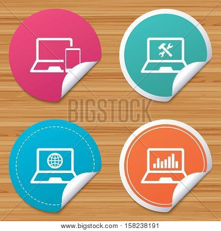Round stickers or website banners. Notebook laptop pc icons. Internet globe sign. Repair fix service symbol. Monitoring graph chart. Circle badges with bended corner. Vector