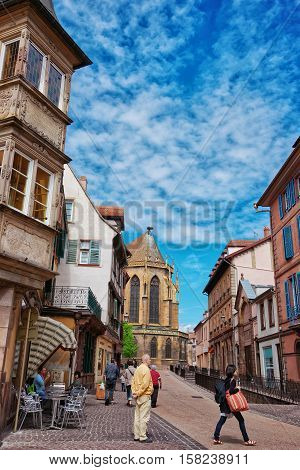 Eglise Street In Colmar In Alsace In France