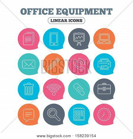 Office equipment icons. Computer, printer and smartphone. Wi-fi, chat speech bubble and copy documents. Presentation board, paperclip with pencil and magnifying glass. Vector