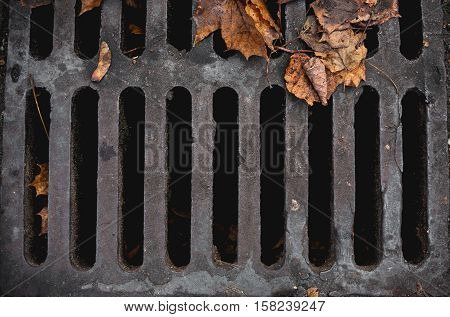 The texture of a sewer grates outdoor