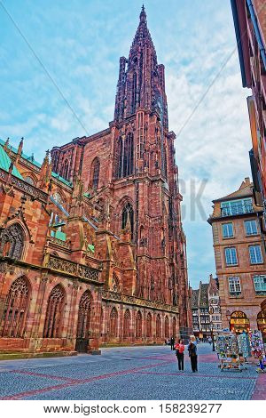 Facade Of Strasbourg Cathedral Of Grand East Region France