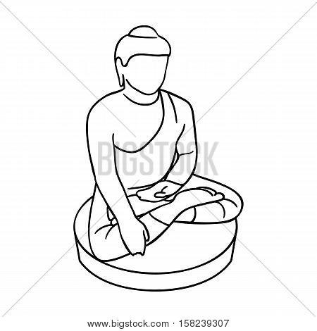 Sitting Buddha icon in outline style isolated on white background. South Korea symbol vector illustration.