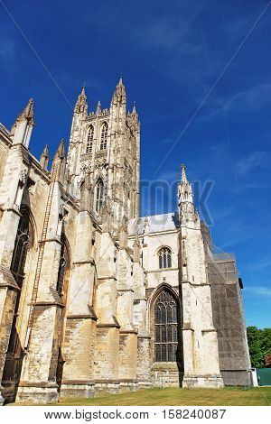 Fragment Of Canterbury Cathedral In Canterbury Kent In Uk