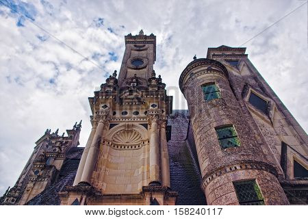 Fragment Of Chateau De Chambord Palace In Loire Valley France