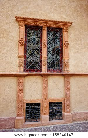 Fragment Of House Of Heads In Colmar In Alsace France