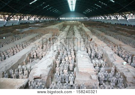 XIAN, CHINA NOVEMBER 19, 2016 : The Terracotta Army is a collection of terracotta sculptures depicting the armies of Qin Shi Huang, the first Emperor of China