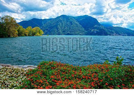 Garden Park At Promenade Of Lugano In Ticino Of Switzerland